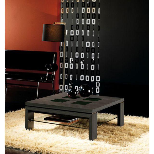 Kasalinea Table basse carrée wengé et verre noir contemporaine Madeleine
