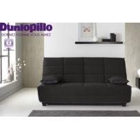 RELAXIMA - Banquette lit Clic Clac Noir Eleana - Matelas mousse HR35kg Dunlopillo
