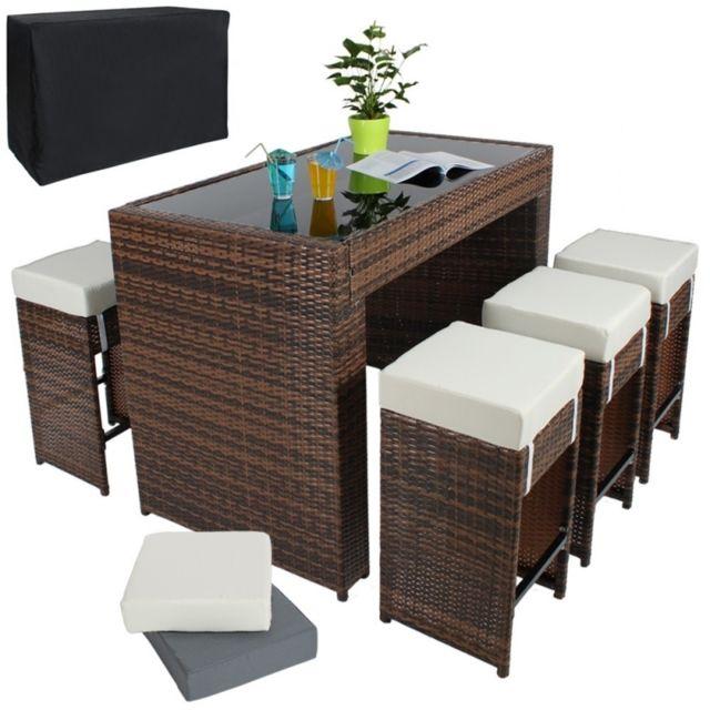 Table haute salon de jardin rotin résine tressé synthétique + 6 tabourets  rotin marron 2108015