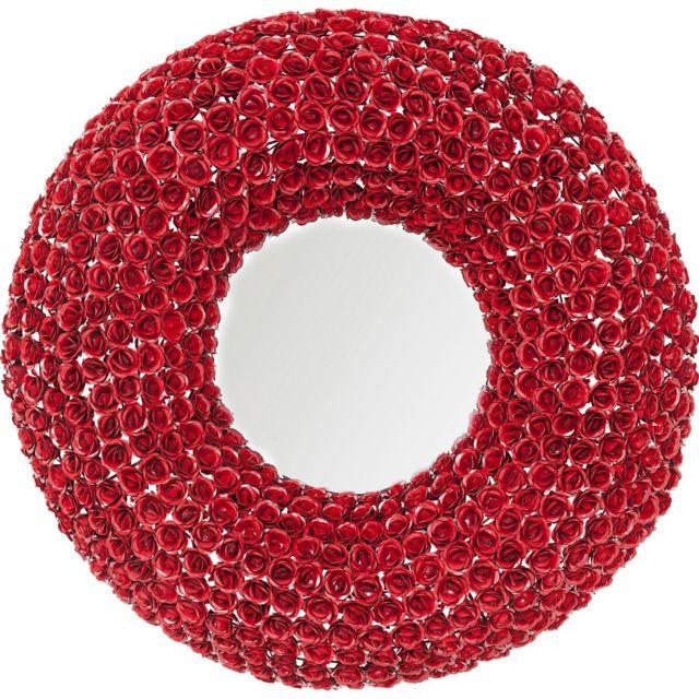 Karedesign Miroir roses rouges rond 100cm Kare Design