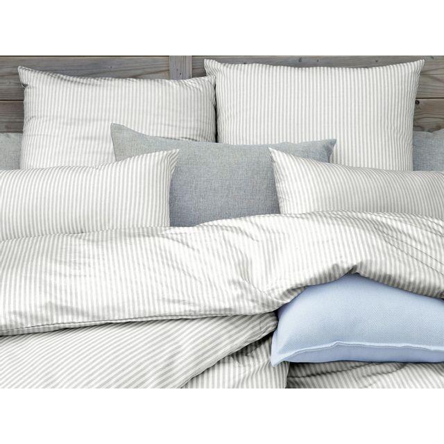 dlm taie d 39 oreiller 65x65 percale de coton blanc et gris rayure timotee pas cher achat. Black Bedroom Furniture Sets. Home Design Ideas