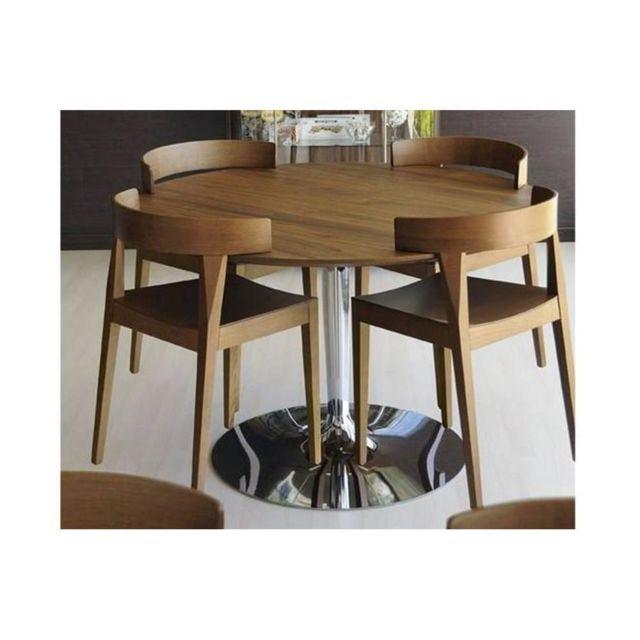 Inside 75 Table repas ronde Planet 120x120 noyer piétement acier chromé