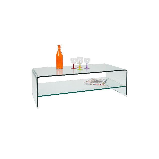 Table basse rectangulaire en verre trempé
