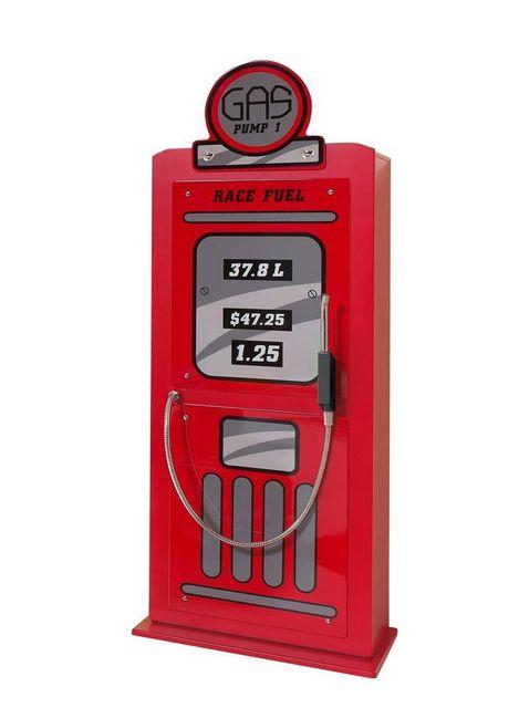 Comforium Armoire à 1 porte 50 cm en Mdf design Pompe à essence coloris rouge