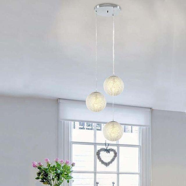 Ego design suspension lustre rotin 3 boules blanc