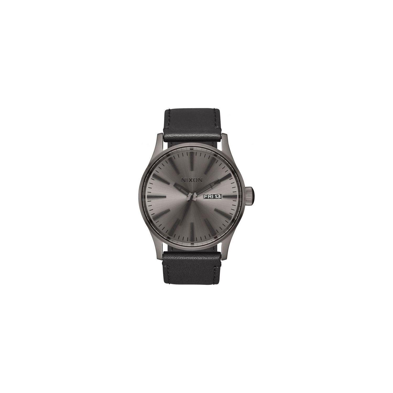 NIXON- Montre Sentry Leather A105-1531-00 - Montre Dateur Noire Cuir Homme 31d6636eca8