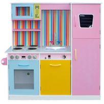 Marque Generique - Cuisine en bois enfant avec four lave-vaisselle et accessoires jeu d'imitation Rainbow   Multicolore