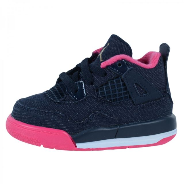 044782ac8d555 Nike - Basket Air Jordan 4 Retro Td Bébé - Ref. 705345-408 Bleu - 23 1 2 -  pas cher Achat   Vente Chaussures