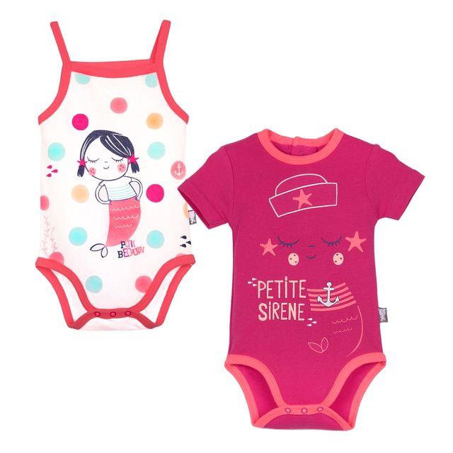 Petit Beguin - Lot de 2 bodies manches courtes et débardeur bébé fille A l  e3831213a26