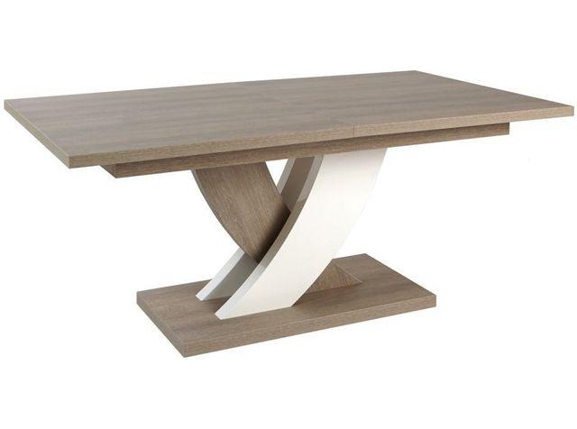 Comforium Table extensible contemporaine et design 185-225 cm coloris chêne gris et blanc laqué