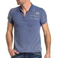 BLZ Jeans - Polo violet délavé homme nervuré tendance