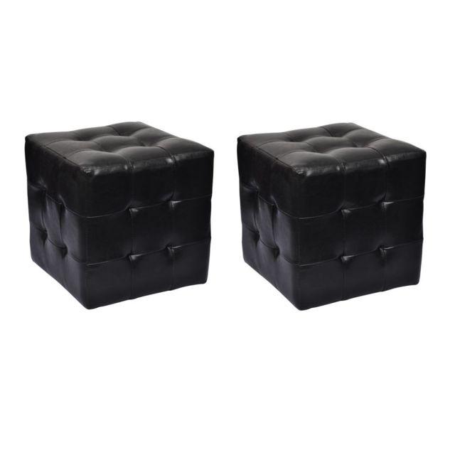 Vidaxl Pouf cube capitonné noir lot de 2