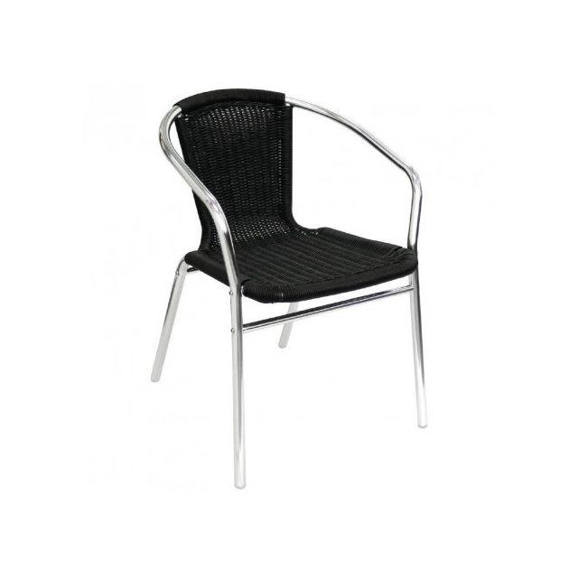 Materiel Chr Pro Fauteuils en rotin noir et aluminium empilables Bolero - Lot de 4
