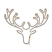Lumineo - Trophé tête de renne lumineux à Led extérieur/intérieur 51x41cm Sweet Xmas