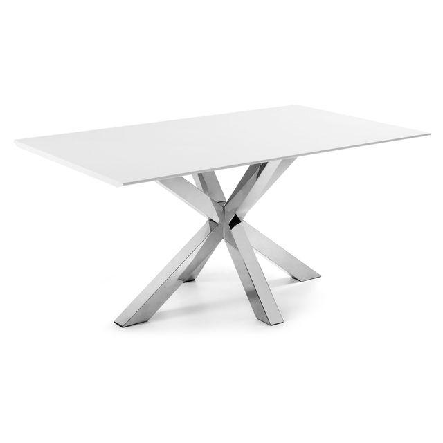 Kavehome Table Argo 180x100 cm, inox et blanc