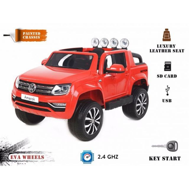 volkswagen amarok la voiture lectrique enfants peinture rouge 2 4 ghz 2x12v 4 moteurs. Black Bedroom Furniture Sets. Home Design Ideas