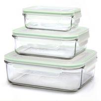 Glasslock - Set de 3 boites hermétiques rectangulaires avec couvercles hermétiques - Micro-ondes