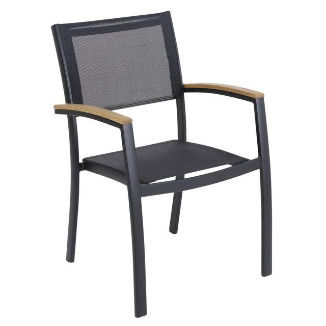 carrefour fauteuil de jardin louga noir noir et bois. Black Bedroom Furniture Sets. Home Design Ideas
