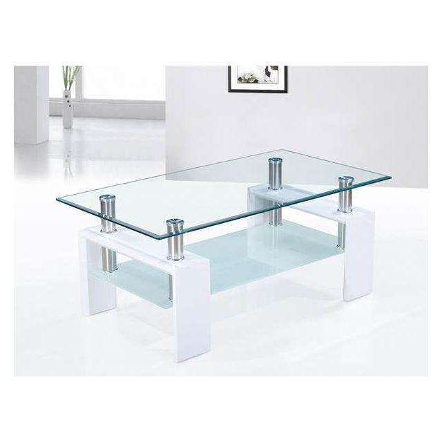 Sofamobili Table basse blanc laqué et plateaux verre design Ottavia