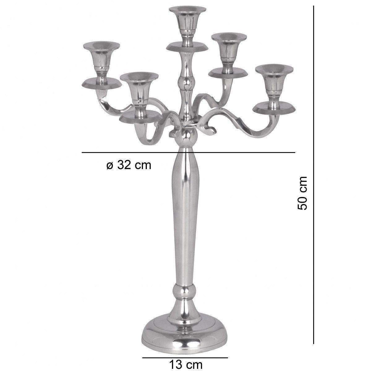 Chandelier 50 cm à 5 branches en aluminium coloris argent