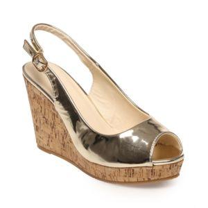 lamodeuse sandales en li ge dor es talons compens es pas cher achat vente sandales femme. Black Bedroom Furniture Sets. Home Design Ideas