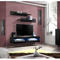 Asm-mdlt - Grand Meuble Tv Fly34 à suspendre 160x30x40cm - noir de haute brillance avec éclairage Led