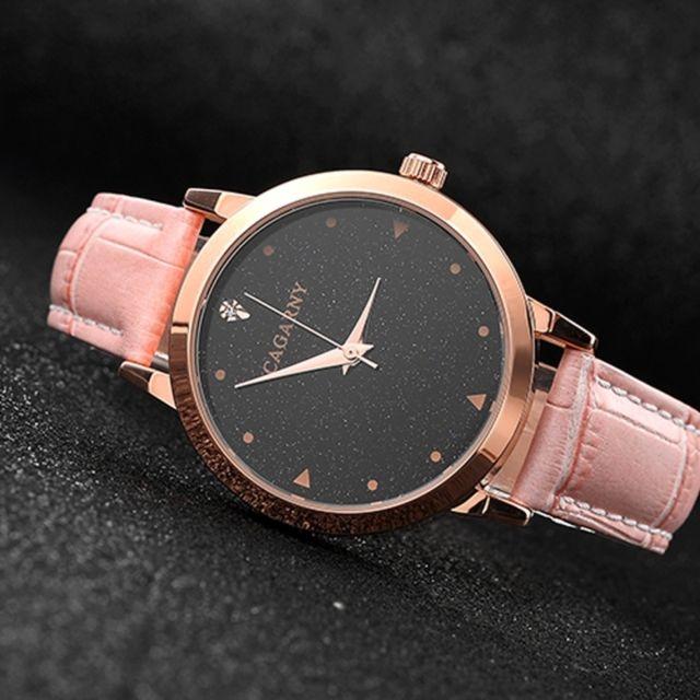 nouveaux styles 4b3e5 5f6b4 Montre rose cadran rond résistant à l'eau Starry Sky Pattern mode femmes  montre-bracelet à quartz avec bande de cuir