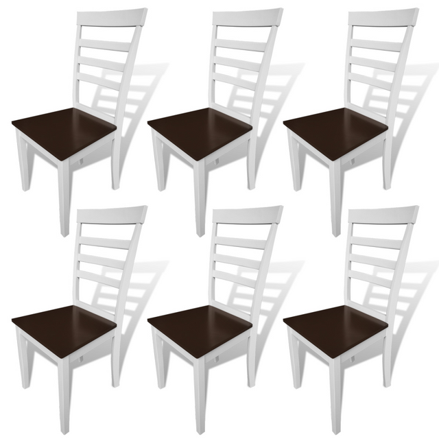 Vidaxl Lot de 6 chaises marron/blanc en bois massif