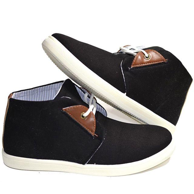 a6d1bbea2f413 No Brand - Baskets montante en canvas et effet cuir marron modele  Mateobaskets homme, chaussure