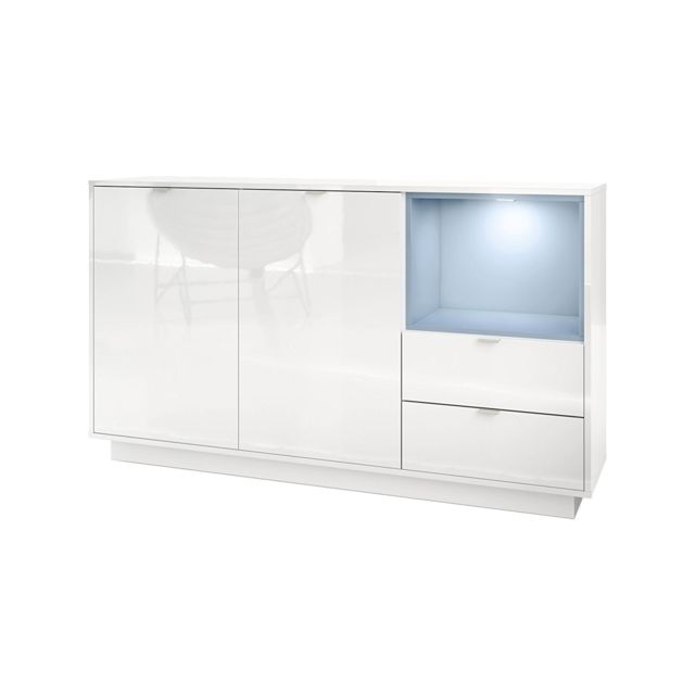 Mpc Buffet 153 cm laqu? blanc avec insertion en Denim mat Mdf