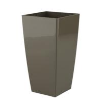 Artevasi - Pot de fleur carré taupe en résine plastique injectée pour intérieur ou extérieur 22 cm x H 40 cm