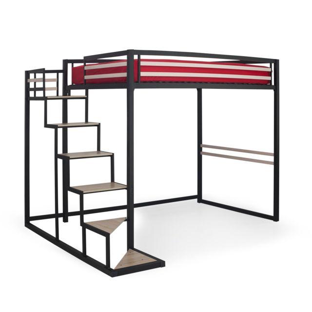 alin a home lit mezzanine 2 places noir avec sommier 140x200cm pas cher achat vente lit. Black Bedroom Furniture Sets. Home Design Ideas