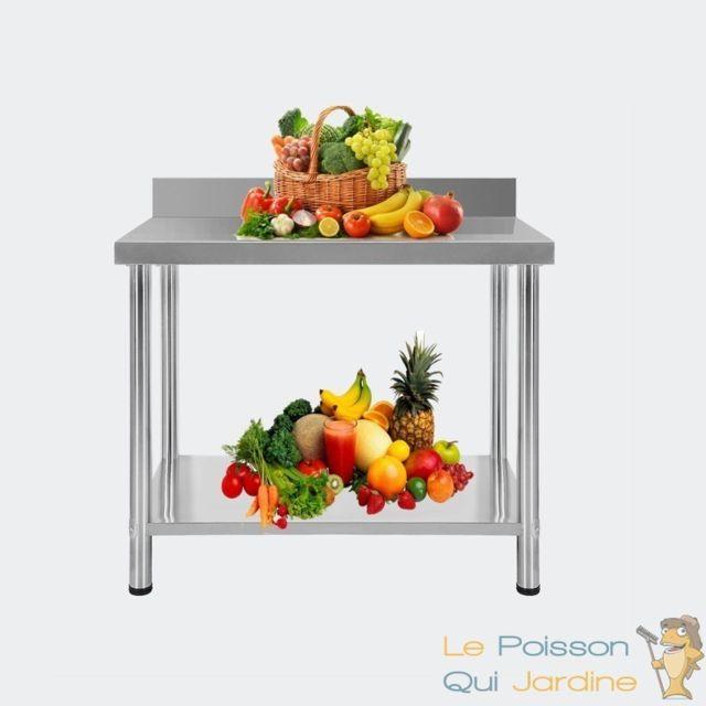 Aqua Occaz Table De Travail, En Inox, Qualité Pro, 120 X 60 X 85 cm, Avec Rebord