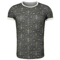 Young And Rich - T shirt homme déchiré T-shirt 1603 gris foncé