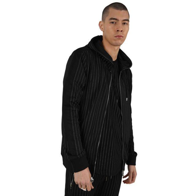 PROJECT X Veste à capuche à rayures tennis et bandes contrastantes Homme Paris, Taille: S, Couleur: Noir