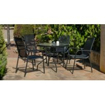 """Hevea Jardin - Hevea - Table de jardin ronde """"Teluro"""" 90 cm + 4 fauteuils"""