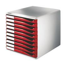 Esselte Group - Leitz - Leitz : Esselte Bloc de classement 10 tiroirs A4 rouges structure grise 29x28,7x35,5cm Leitz