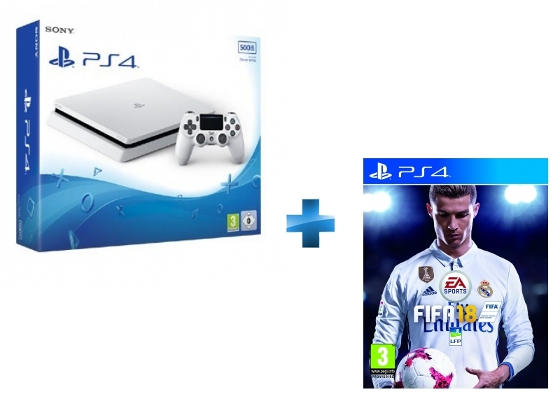 Pack PS4 500Go châssis E Blanche + FIFA 18 jeu PS4