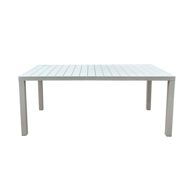 Kaligrafik Table de jardin aluminium blanche longueur 180cm Bilbao