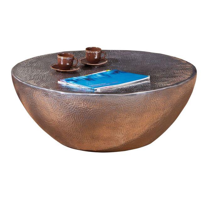 Comforium Table basse design rond coloris argent martelé brillant