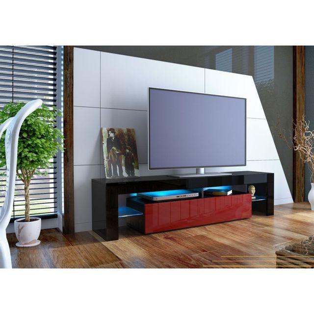 Mpc Meuble tv design laqué noir et bordeaux sans led