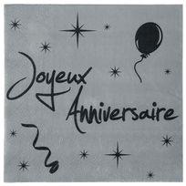 1001DECOTABLE - Serviette grise noire Joyeux anniversaire