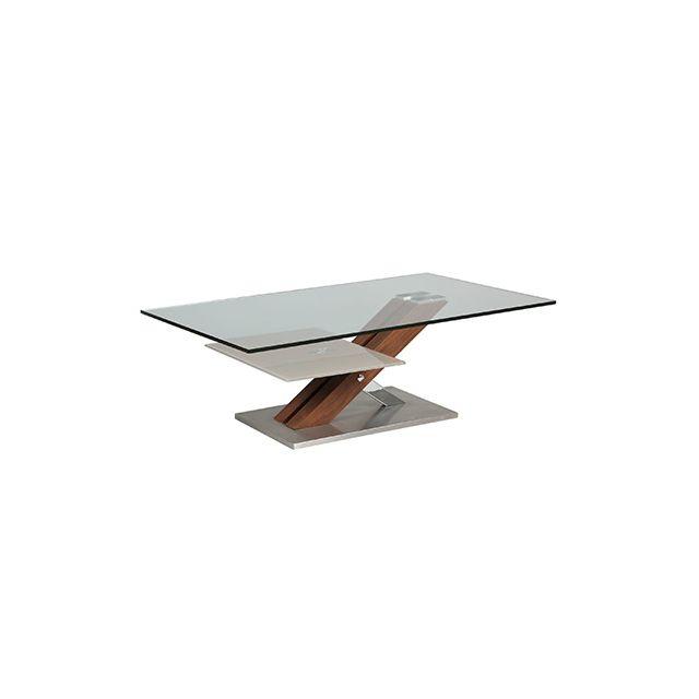 Table basse rectangulaire socle en acier et 2 plateaux en verre trempé