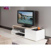 Inside 75   Pacific Meuble Tv Couleur Blanc Laqué Brillant Et Chêne  Bardolino Petit Modèle