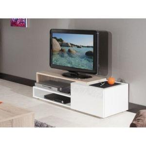 Inside 75 pacific meuble tv couleur blanc laqu brillant for Meuble tv 75 pouces