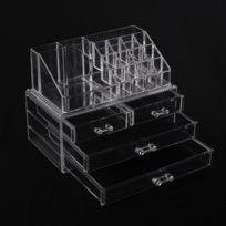 HOMCOM - Transparent organisateur de cosmétique maquillage luxe boîte de rangement à bijoux et produit de beautéen ps multifunction 24l x 15w x 18.6h cm 4 étages transparent 07