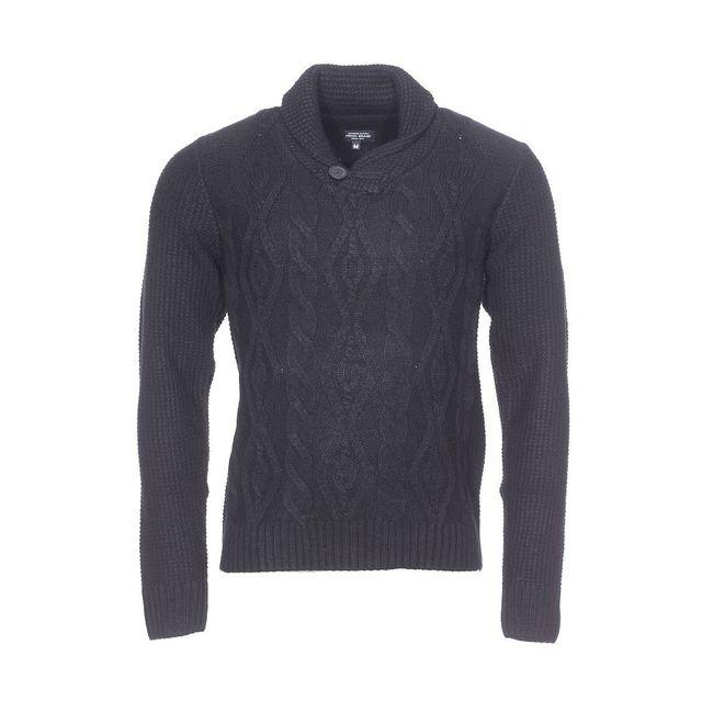 a3cf4f2ff2f4 Fresh Brand - Pull col châle The en laine mélangée noire - pas cher Achat   Vente  Pull homme - RueDuCommerce
