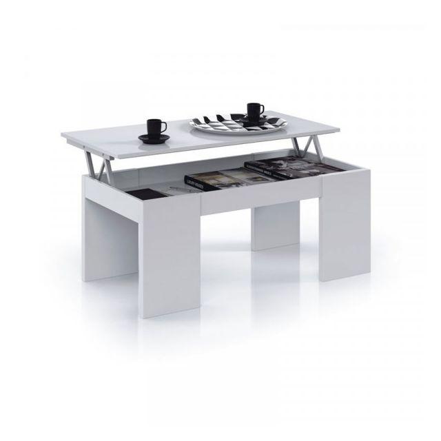 Dansmamaison Table basse relevable Blanc brillant - Oxnard - L 100 x l 50 x H 43/54 cm