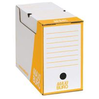 Maxiburo - Boîte archives dos 15 cm jaune - Lot de 20