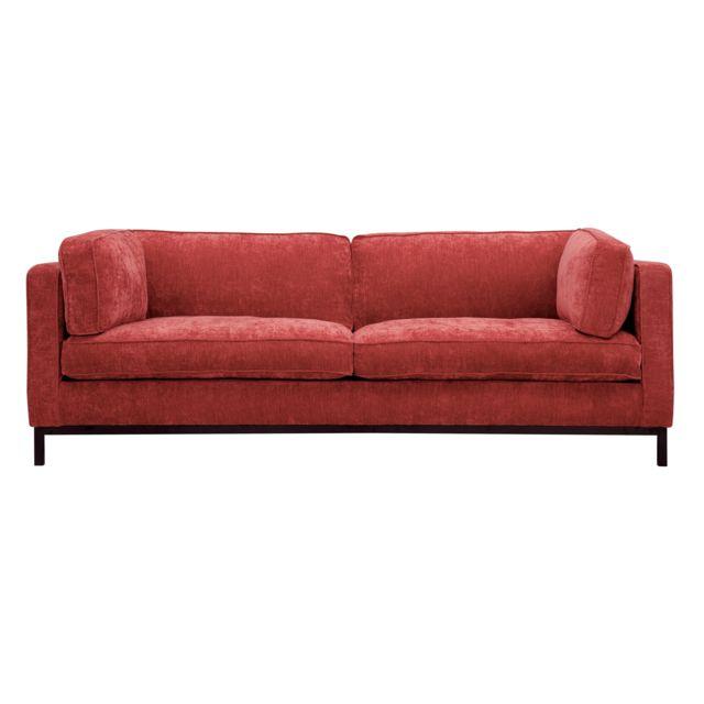 Rendez Vous Deco Canapé Cocoon 3 places en velours chiné rouge